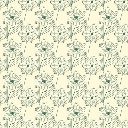 Seamless contour floral decorative pattern Stock Vector - 18730061