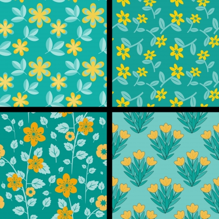 Collection of floral orange and teal paterns Vector