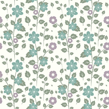 Seamless decorative floral and leaves pattern Stock Vector - 18730065