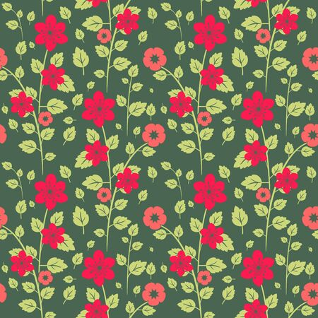 Bright red and green seamless floral texture Stock Vector - 18730066
