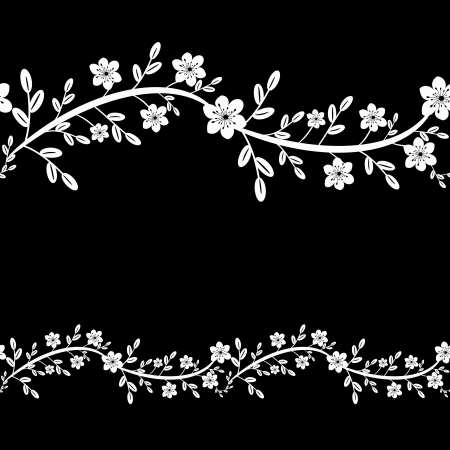 Black and white floral decorative bacgkround Stock Vector - 19581062
