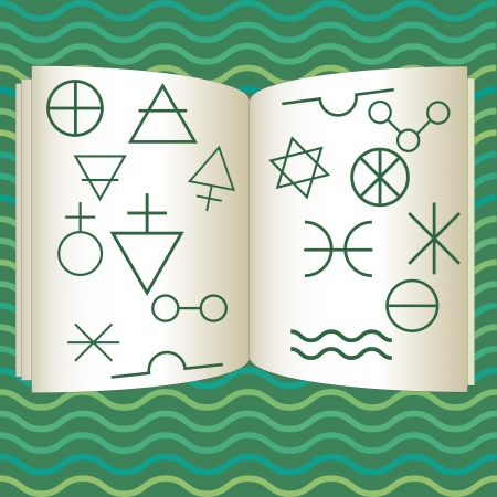 Book illustration with alchemy symbols Vector