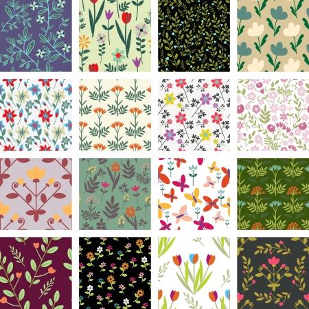 シームレスな花柄コレクション 写真素材 - 20327011
