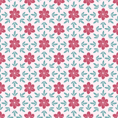 Pink flowers seamless ornamental pattern Vector