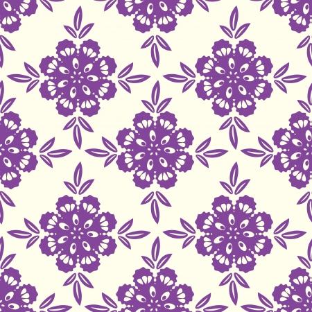 Seamless purple floral ornamental pattern Vector