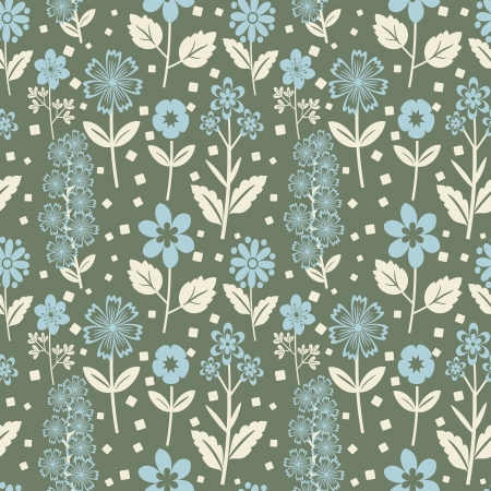 Seamless floral pattern with blue flowers Vector
