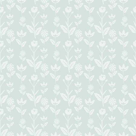 Seamless pastel blue floral pattern Vector