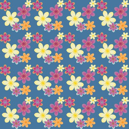 Multicolored floral pattern on blue background Vector