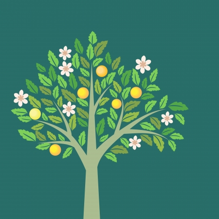 Fruit tree with ripe apples and flowers Vector