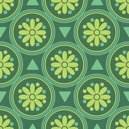 Seamless decorative pattern in green colorway Vector