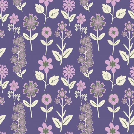 Seamless purple floral pattern Vector