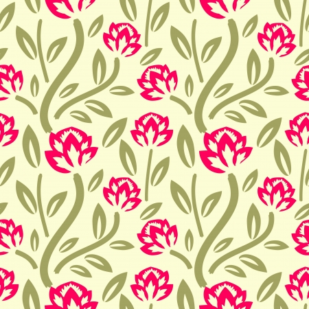 Pink flowers seamless decorative pattern Vector