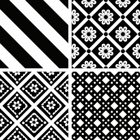 Black and white seamless patterns set Vector