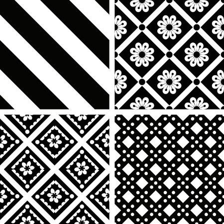 Black and white seamless patterns set Ilustração