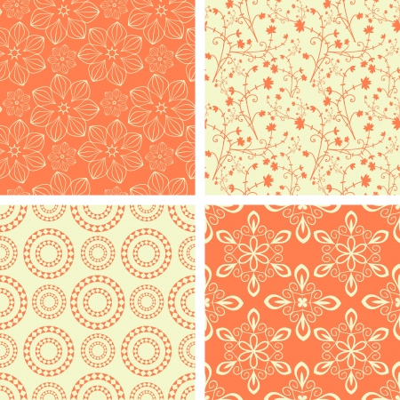Seamless decorative coral patterns collection Vector