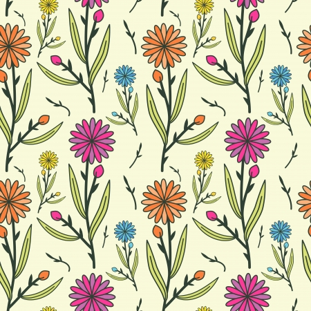Multicolored seamless floral pattern Vector