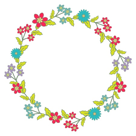 Floral wreath with multicolored flowers Vector