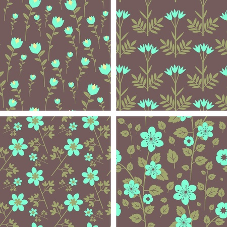 Seamless decorative floral patterns set Vector