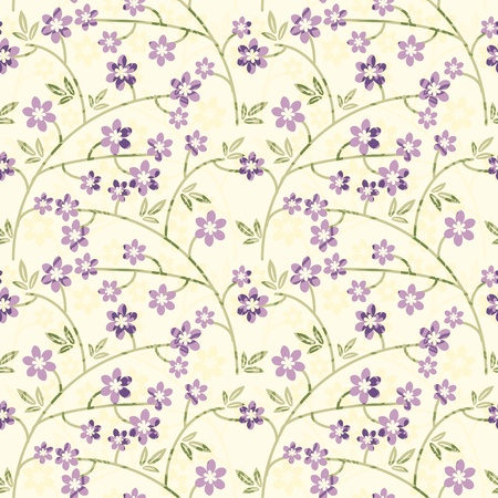 Floral pattern with purple flowers Vector