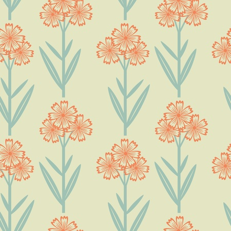 Seamless floral pattern with red flowers Vector