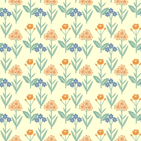 Pattern with red and blue flowers Vector