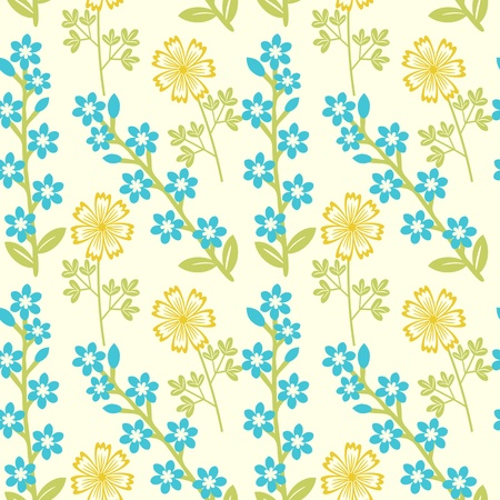 Seamless floral pattern with yellow and blue flowers Vector