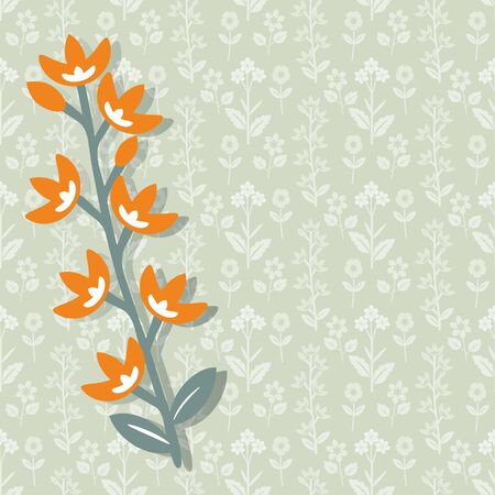 Floral card template with orange flowers Vector
