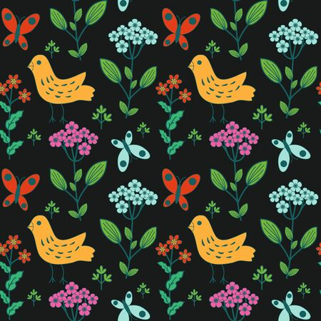 Floral and birds decorative pattern Vector