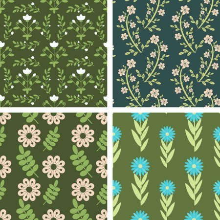 Seamless floral pattern decorative set Vector