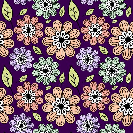 Multicolored seamless floral pattern on purple Vector