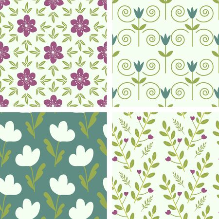 Seamless floral patterns set Vector