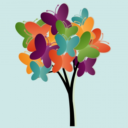 Abstract tree illustration with butterflies Vector