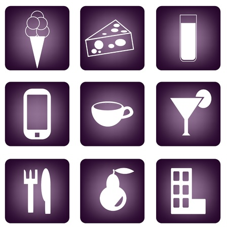 Set of purple buttons with different icons Vector