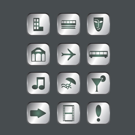 Metal buttons with travel icons Vector