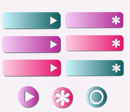 Menu buttons collection pink and blue
