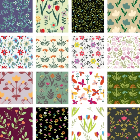 Seamless decorative floral pattern collection Vector