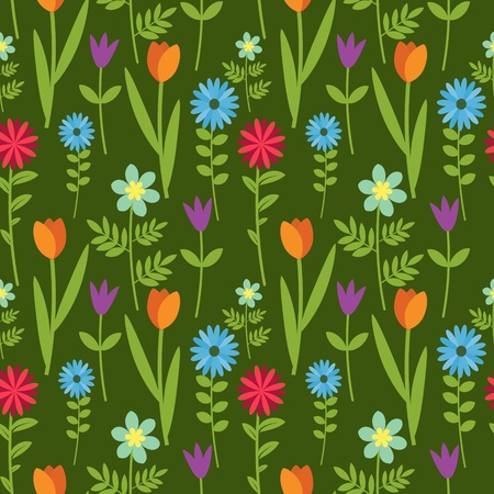 Seamless floral pattern with multicolored flowers Vector