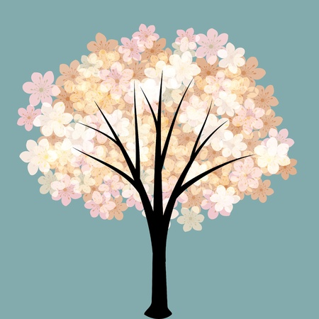 Spring flowering tree with pink blossom Vector