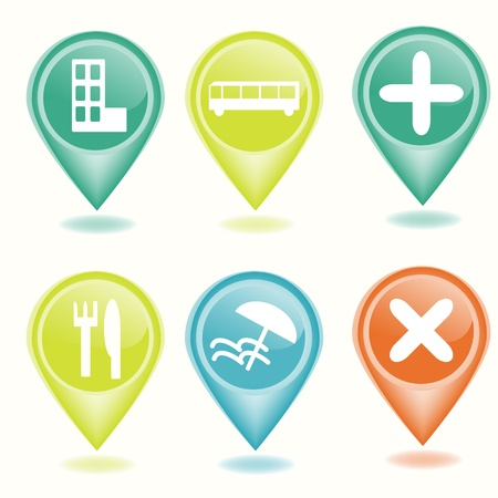 Location markers set with icons Vector
