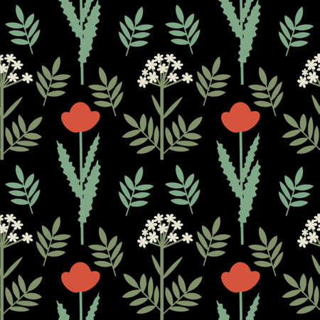 Seamless red and white flowers decorative print Vector