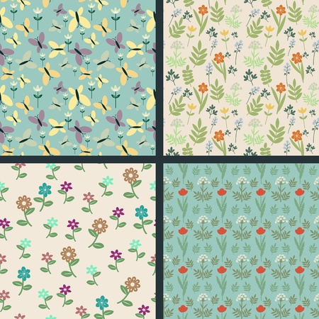 Seamless decorative floral patterns collection Vector