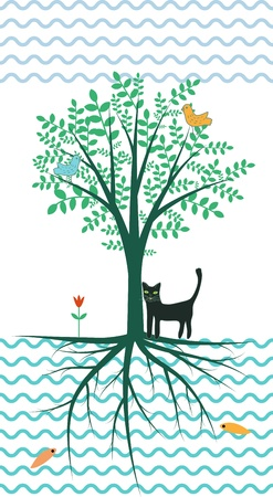 Tree of life illustration with birds and cat Vector