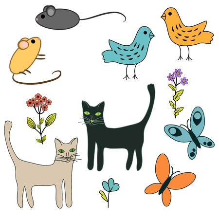 Hand drawn animals and flowers set Stock Vector - 21131579
