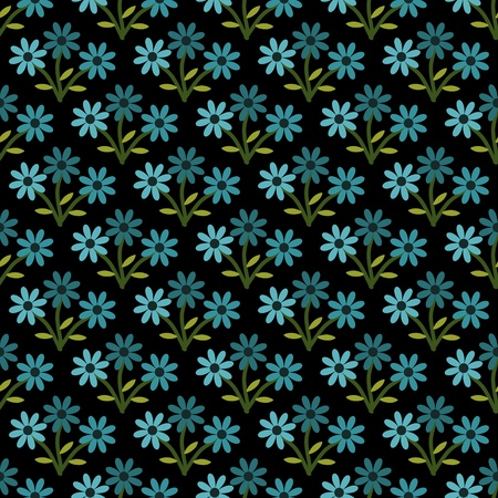 Seamless blue flowers pattern decorative Vector