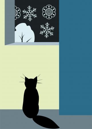 Black cat looking at snowfall Vector