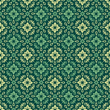 Seamless green floral decorative pattern Vector