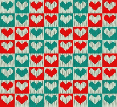 Seamless knit pattern with hearts Vector
