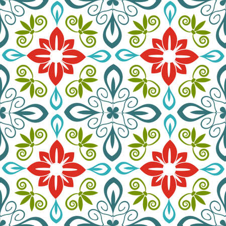 Seamless floral pattern with flourishes Vector