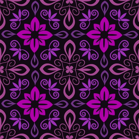 Seamless purple demask decorative floral pattern Vector