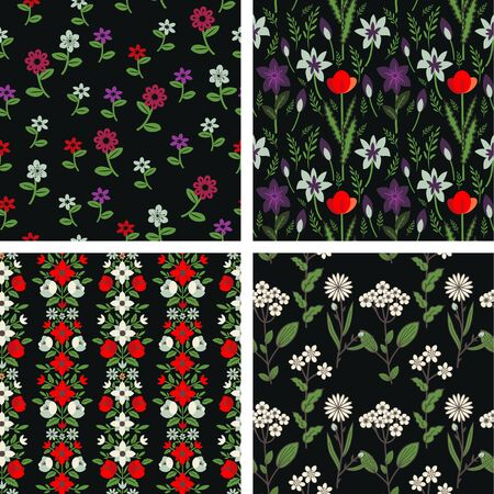 Seamless floral decorative patterns set Vector